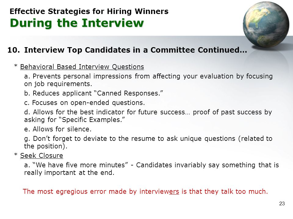 Effective Strategies for Hiring Winners During the Interview
