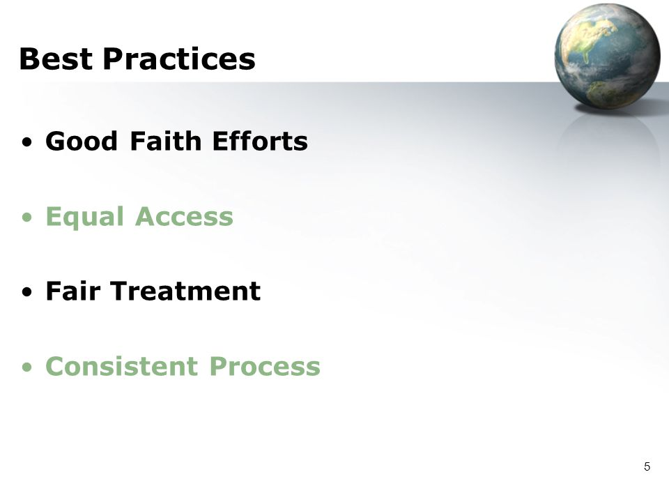 Best Practices Good Faith Efforts Equal Access Fair Treatment