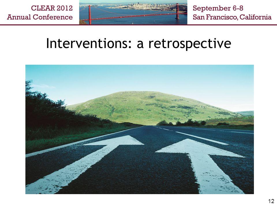 Interventions: a retrospective