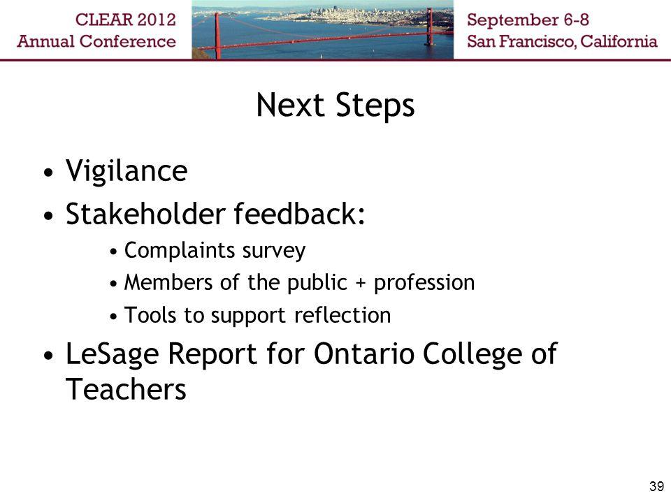 Next Steps Vigilance Stakeholder feedback: