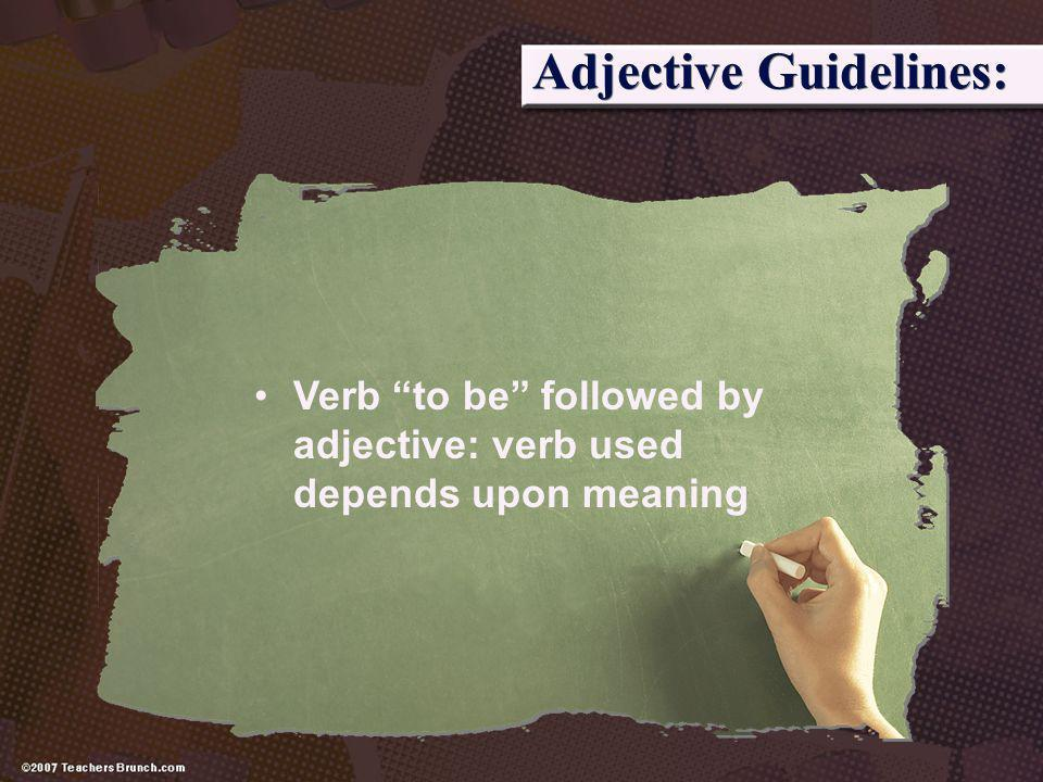 Adjective Guidelines: