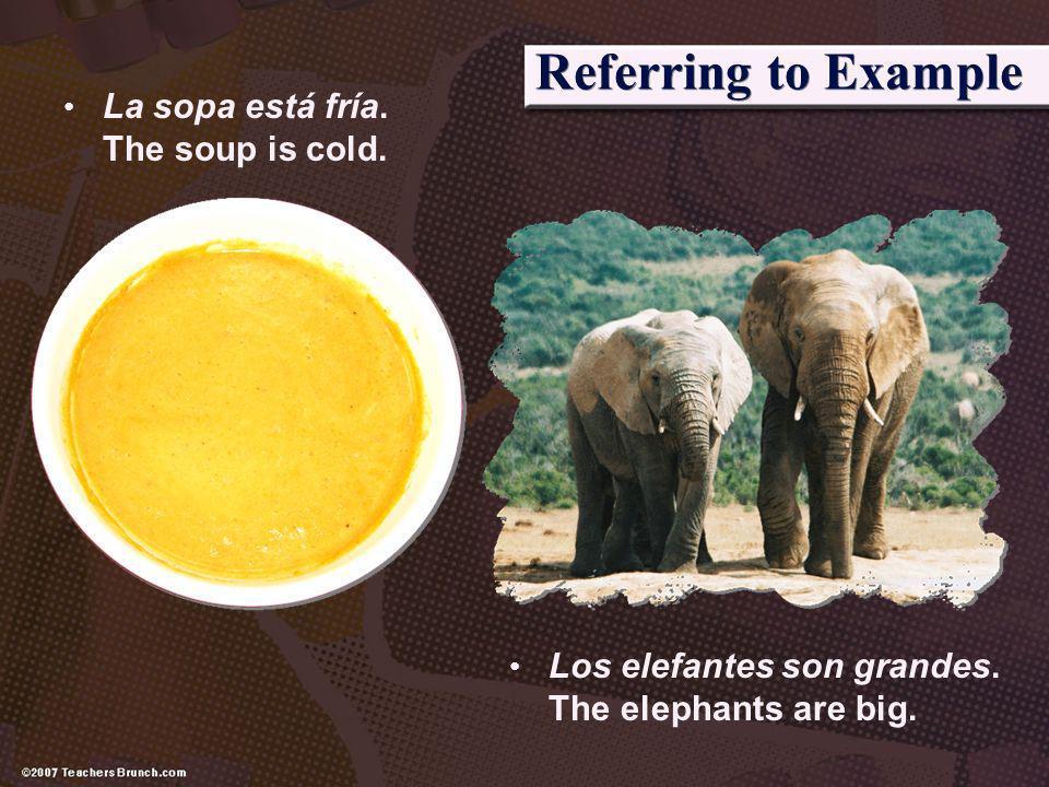 Referring to Example La sopa está fría. The soup is cold.