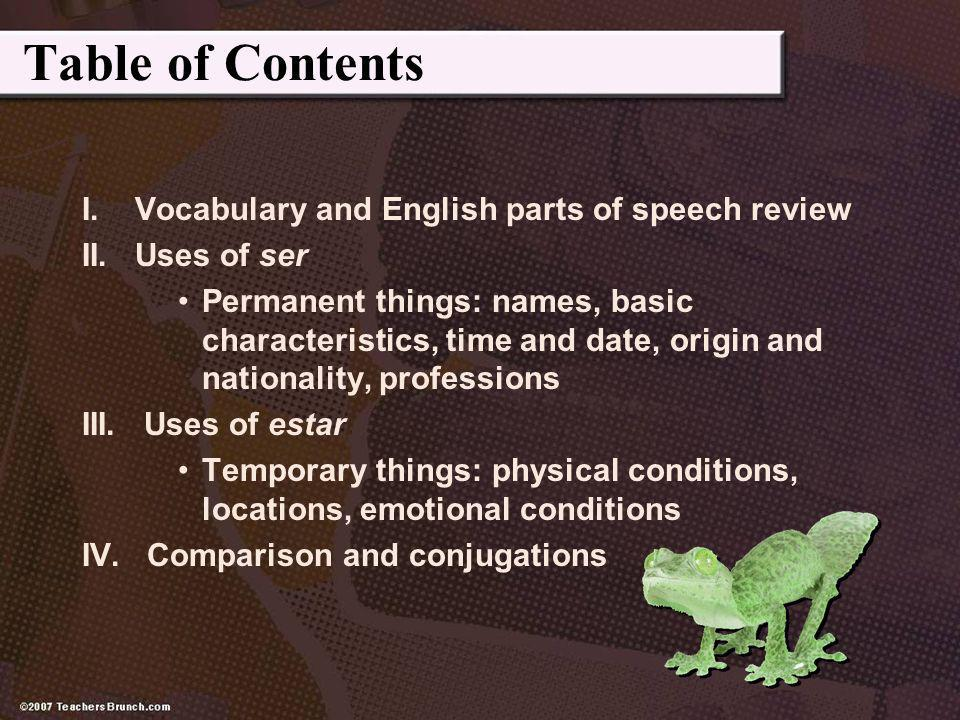 Table of Contents I. Vocabulary and English parts of speech review