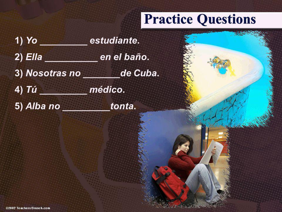 Practice Questions 1) Yo _________ estudiante.