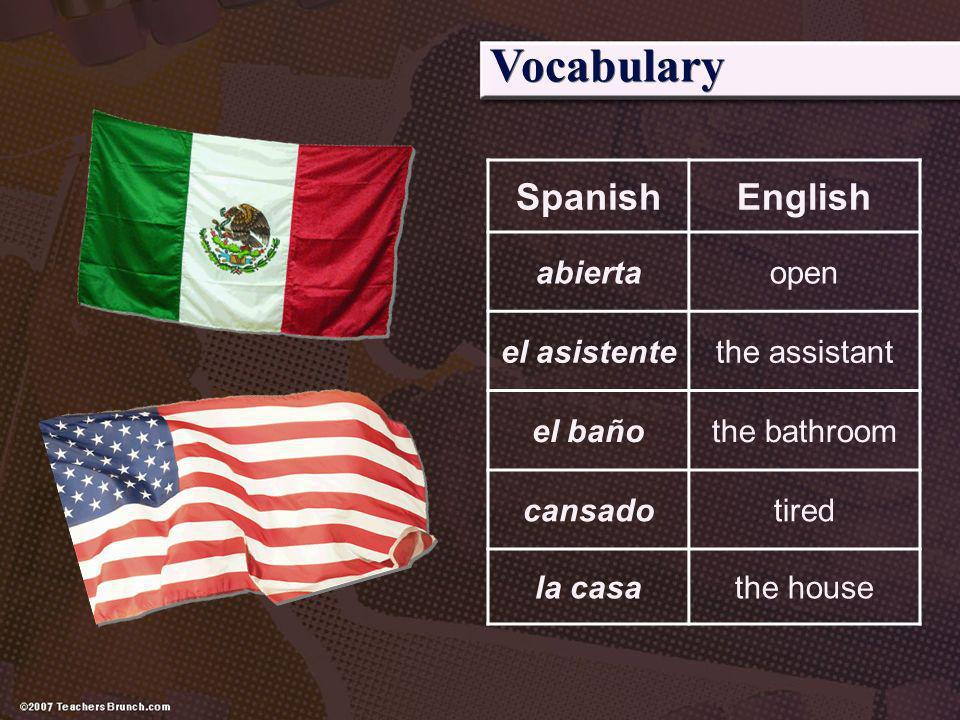 Vocabulary Spanish English abierta open el asistente the assistant