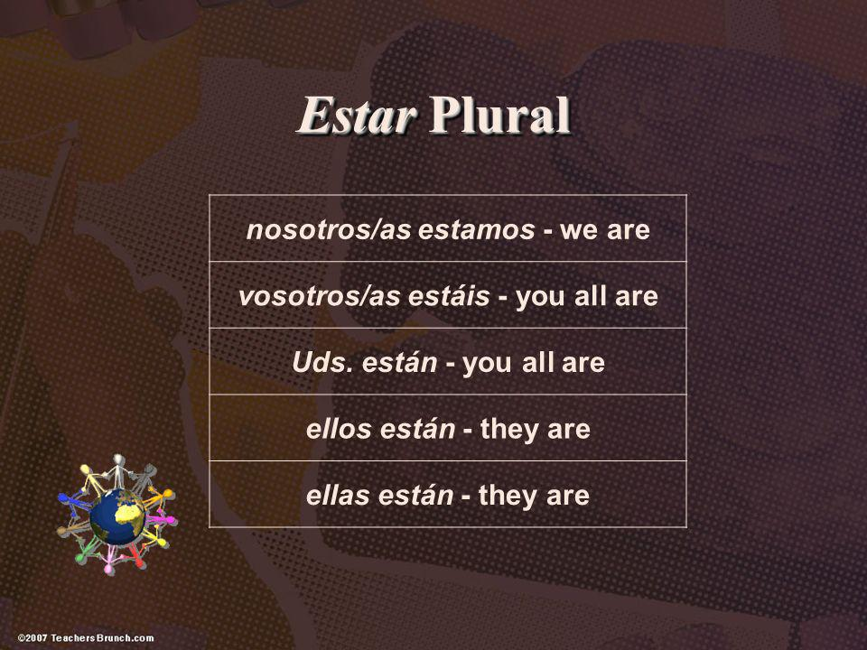 nosotros/as estamos - we are vosotros/as estáis - you all are