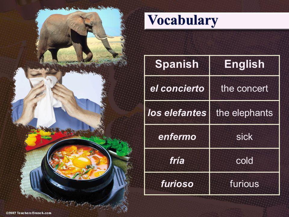 Vocabulary Spanish English el concierto the concert los elefantes