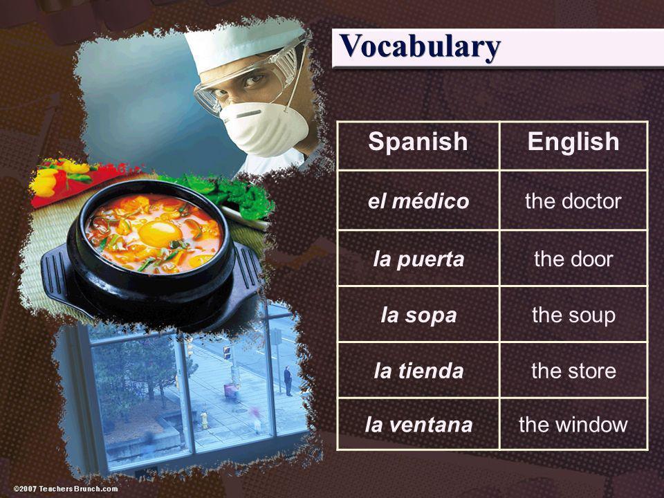 Vocabulary Spanish English el médico the doctor la puerta the door