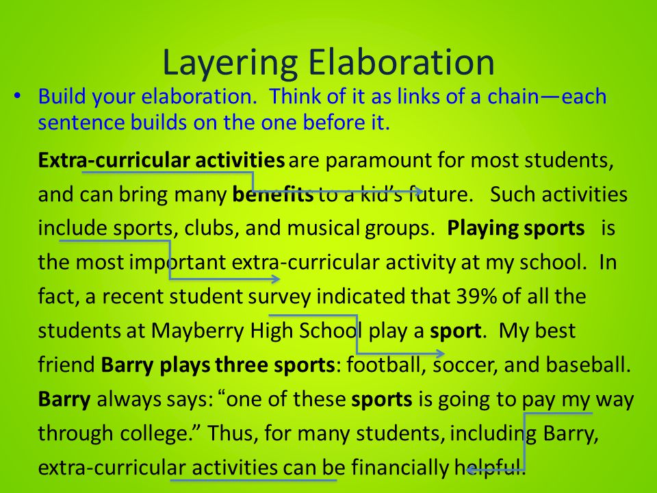 Layering Elaboration Build your elaboration. Think of it as links of a chain—each sentence builds on the one before it.