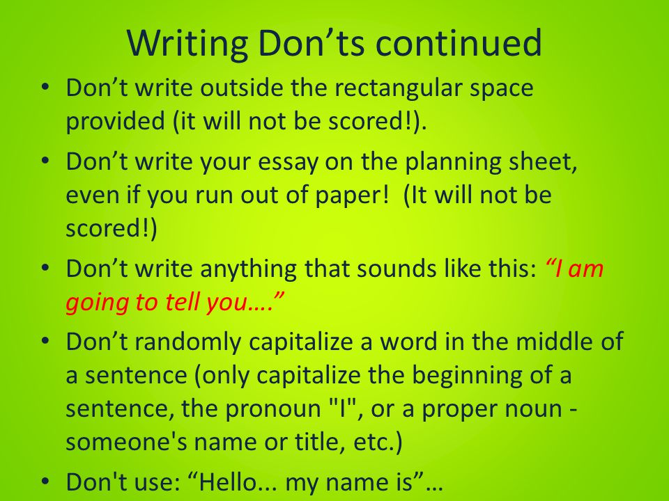 Writing Don'ts continued