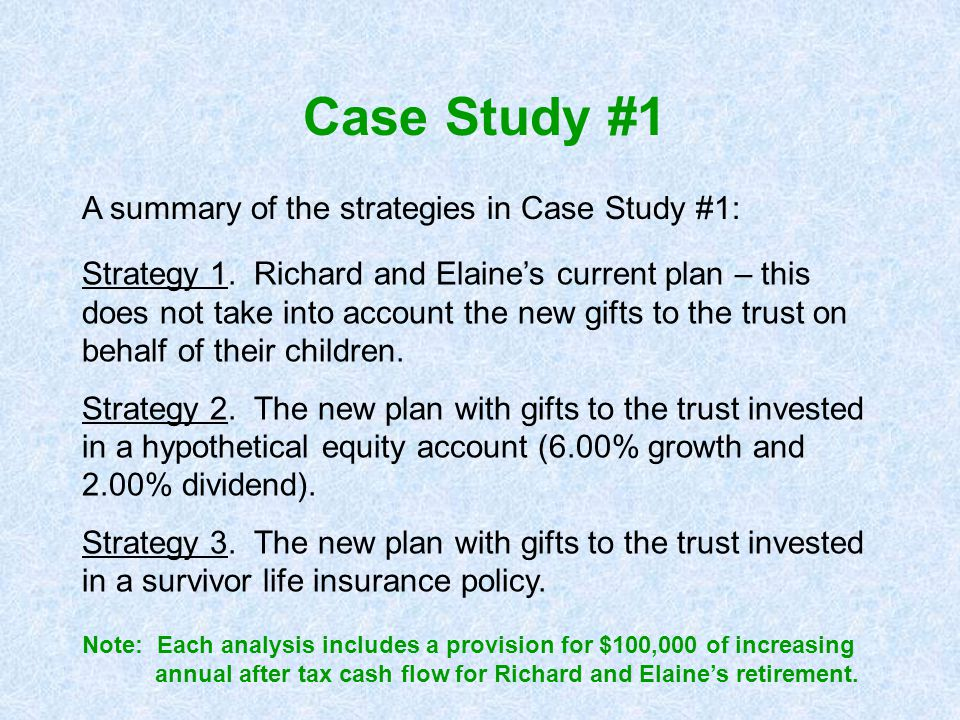Case Study #1 A summary of the strategies in Case Study #1: