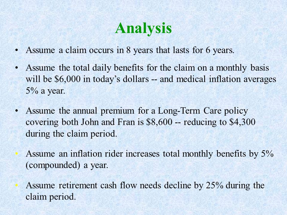 Analysis Assume a claim occurs in 8 years that lasts for 6 years.