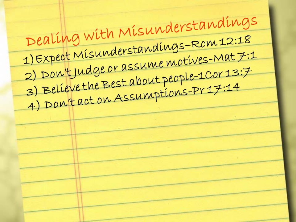 Dealing with Misunderstandings