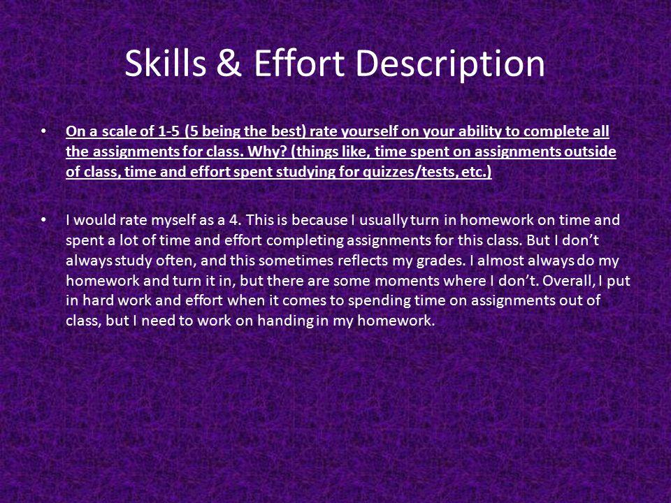 Skills & Effort Description