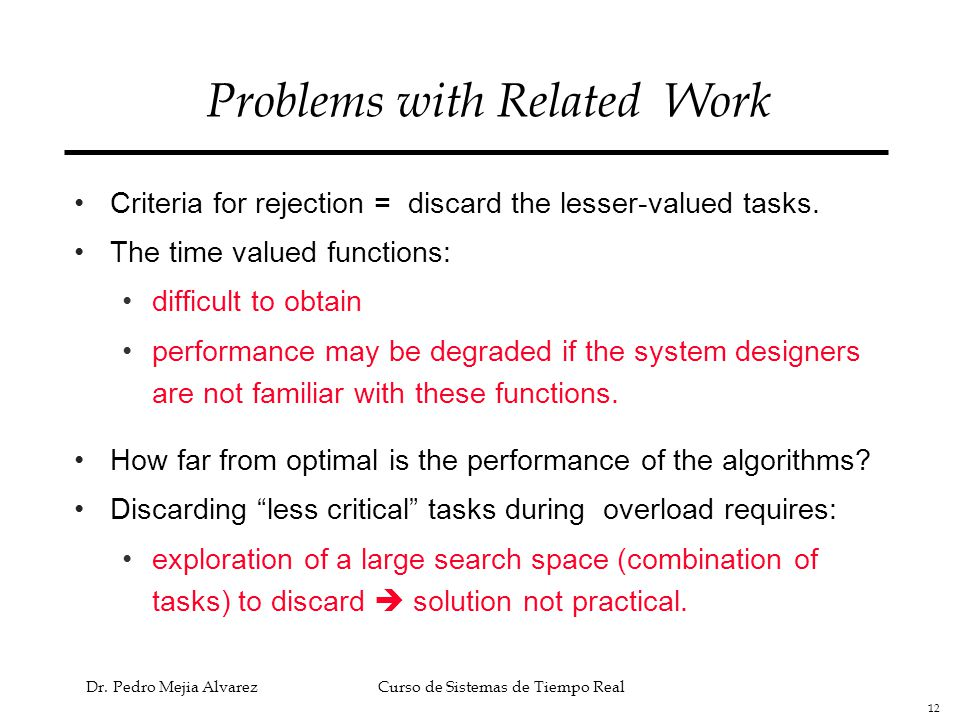 Problems with Related Work