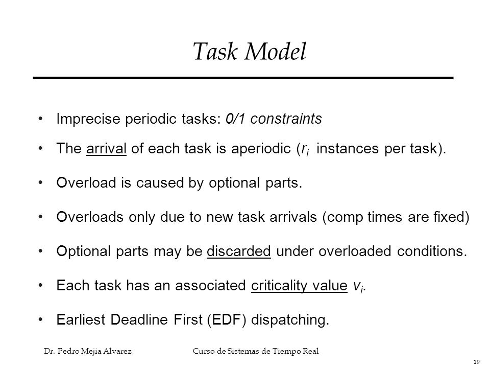 Task Model Imprecise periodic tasks: 0/1 constraints