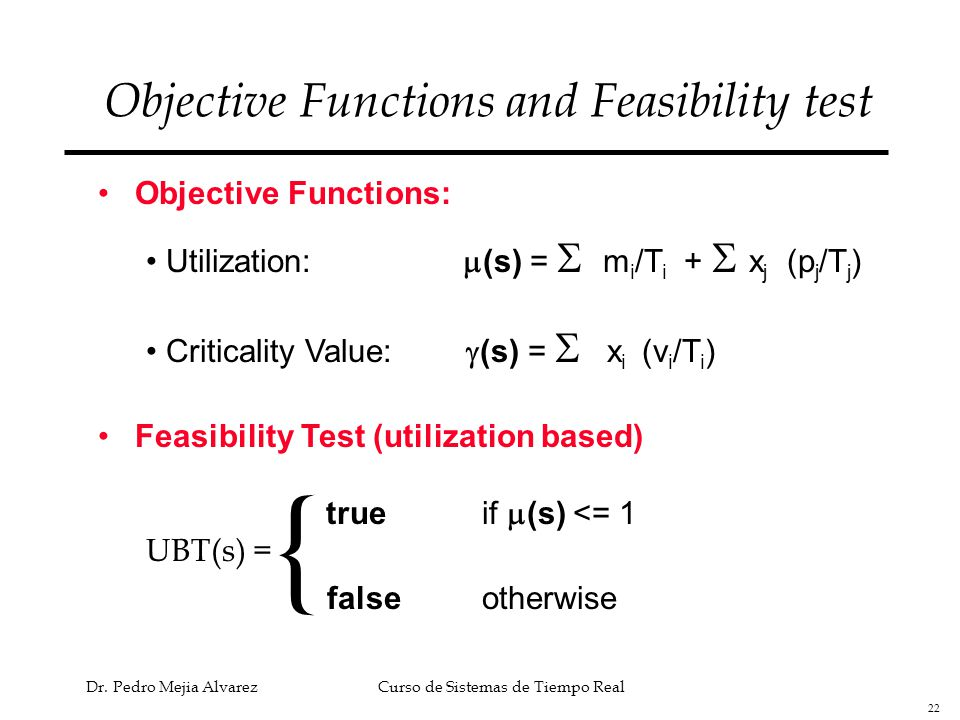 Objective Functions and Feasibility test