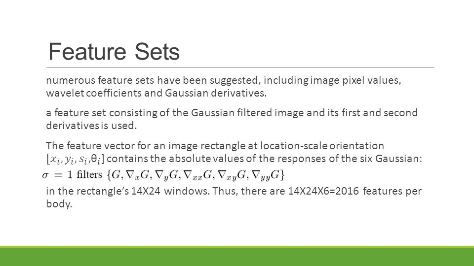 Feature Sets numerous feature sets have been suggested, including image pixel values, wavelet coefficients and Gaussian derivatives.