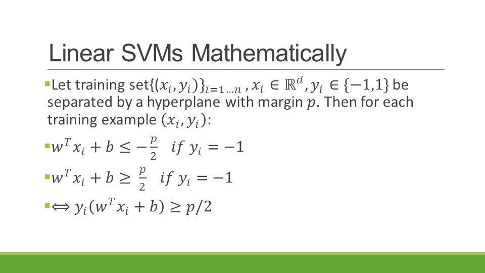 Linear SVMs Mathematically