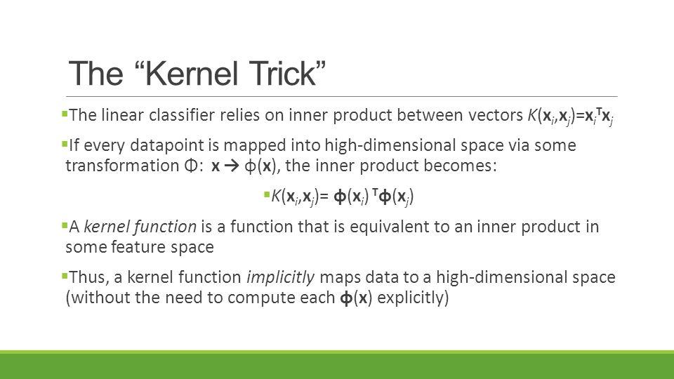The Kernel Trick The linear classifier relies on inner product between vectors K(xi,xj)=xiTxj.