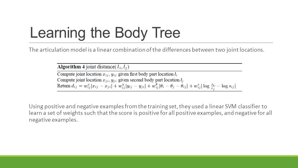 Learning the Body Tree The articulation model is a linear combination of the differences between two joint locations.