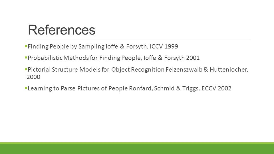 References Finding People by Sampling Ioffe & Forsyth, ICCV 1999