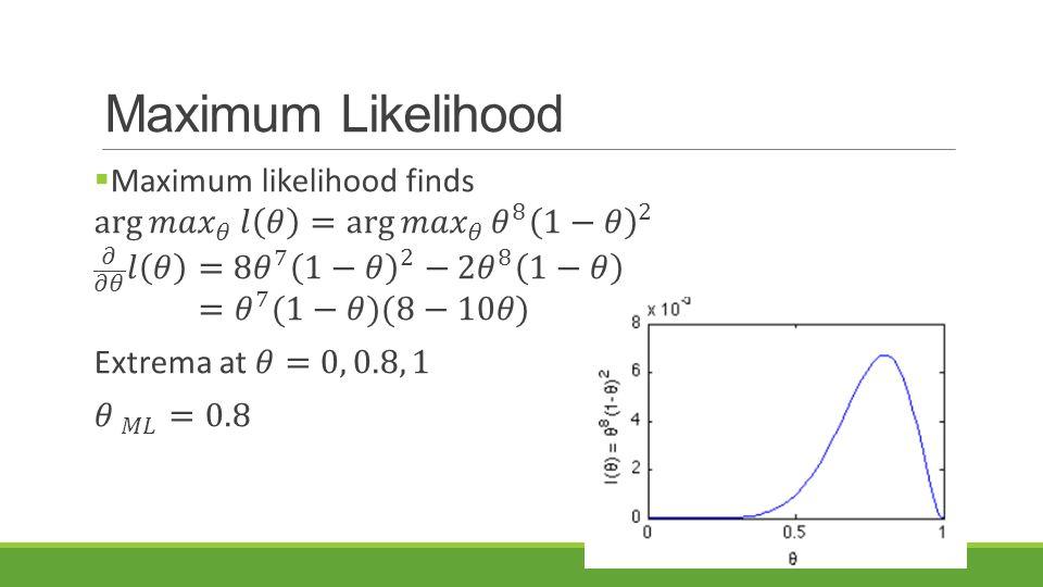 Maximum Likelihood Maximum likelihood finds