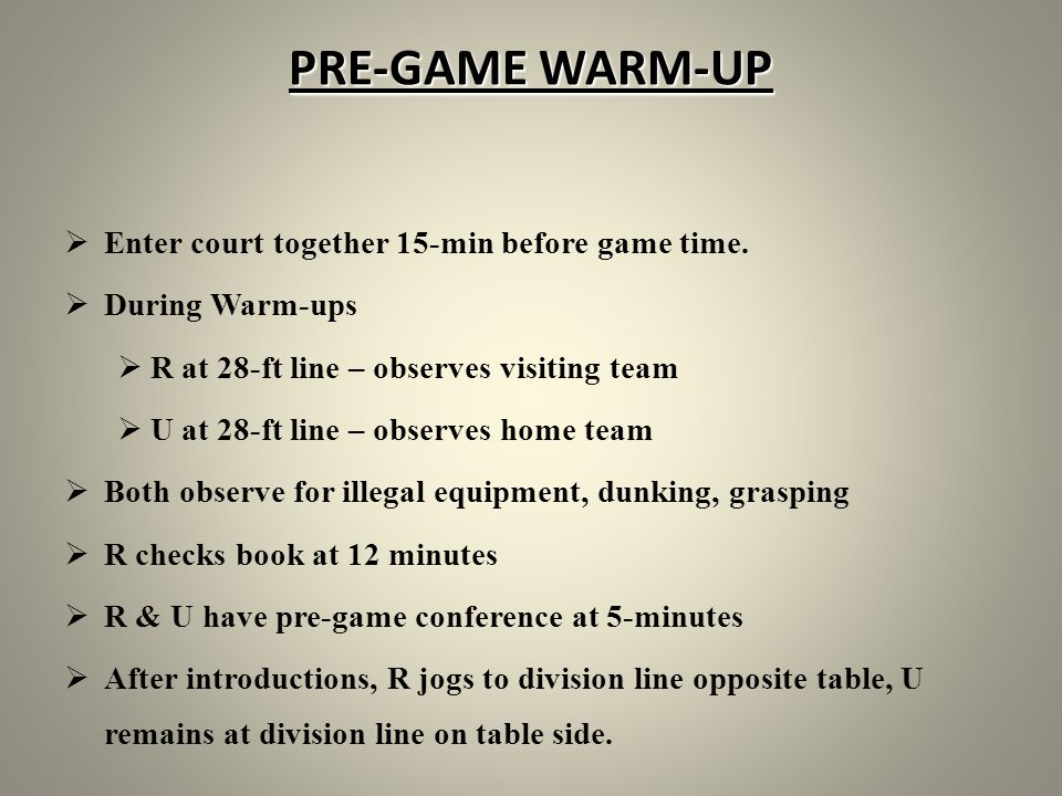 PRE-GAME WARM-UP Enter court together 15-min before game time.