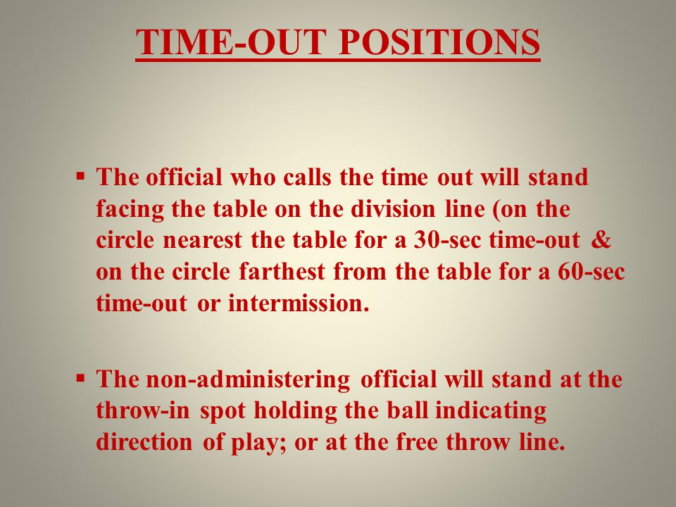 TIME-OUT POSITIONS