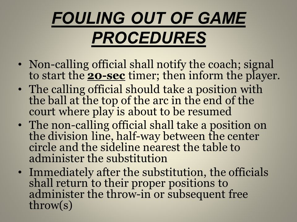 FOULING OUT OF GAME PROCEDURES