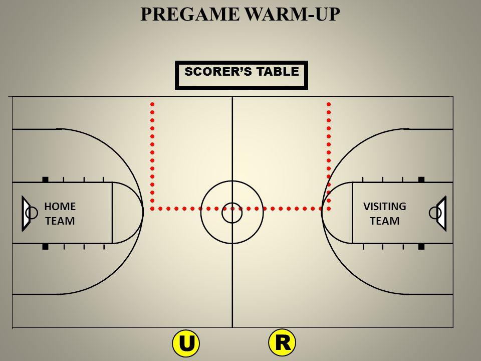 PREGAME WARM-UP SCORER'S TABLE HOME TEAM VISITING TEAM U R