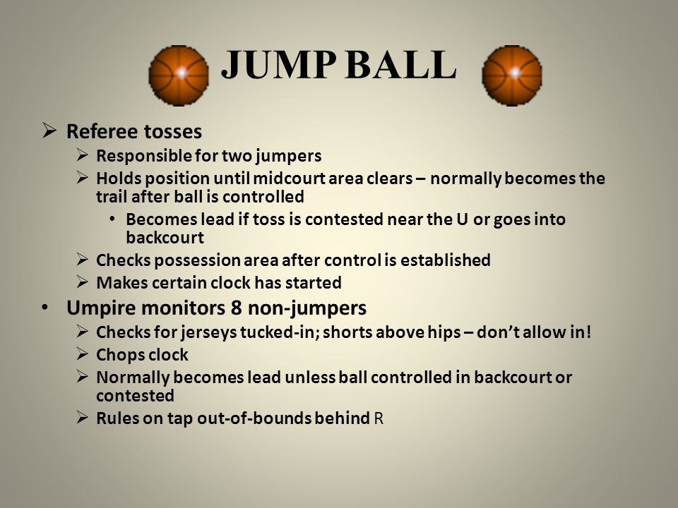 JUMP BALL Referee tosses Umpire monitors 8 non-jumpers