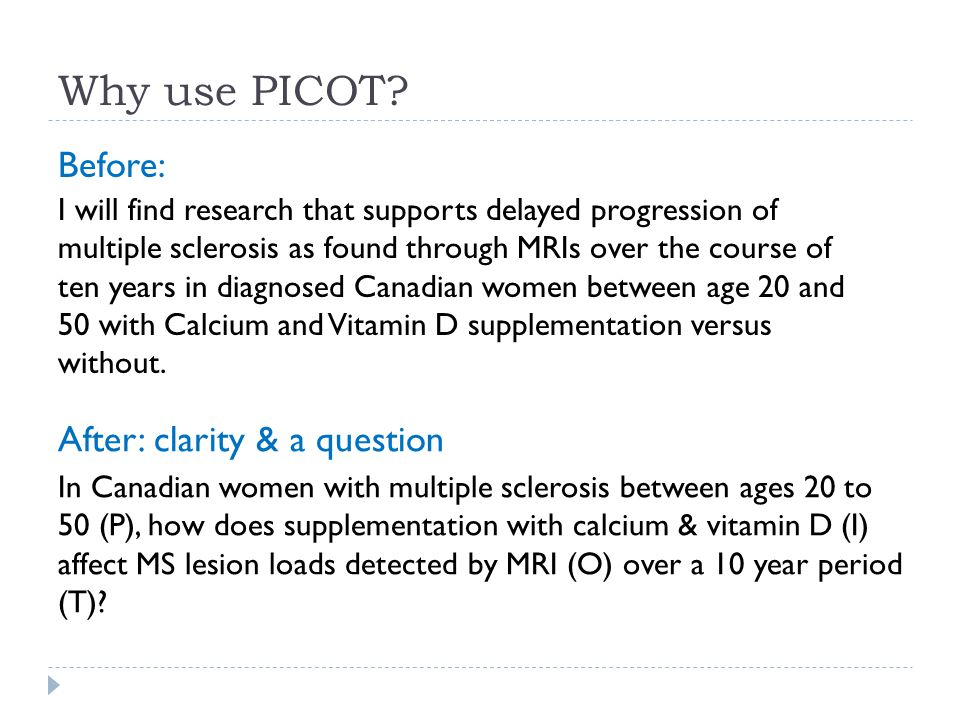 Why use PICOT Before: After: clarity & a question