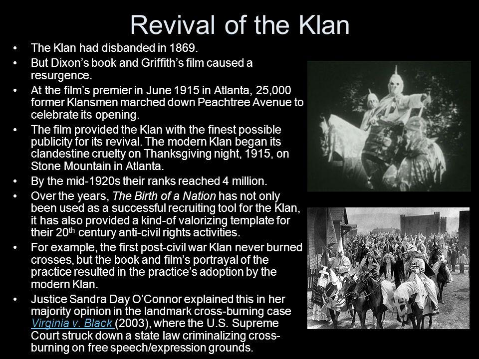 Revival of the Klan The Klan had disbanded in 1869.