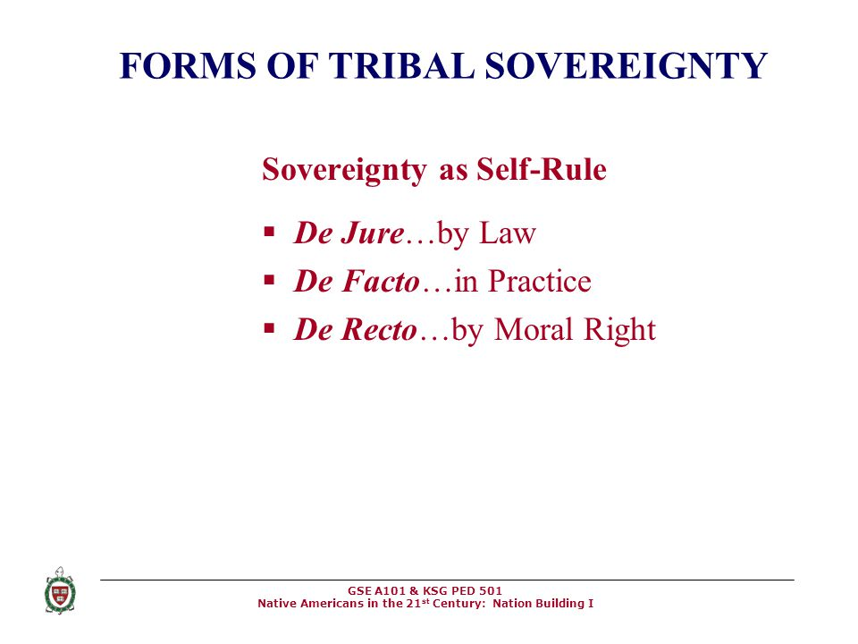 FORMS OF TRIBAL SOVEREIGNTY