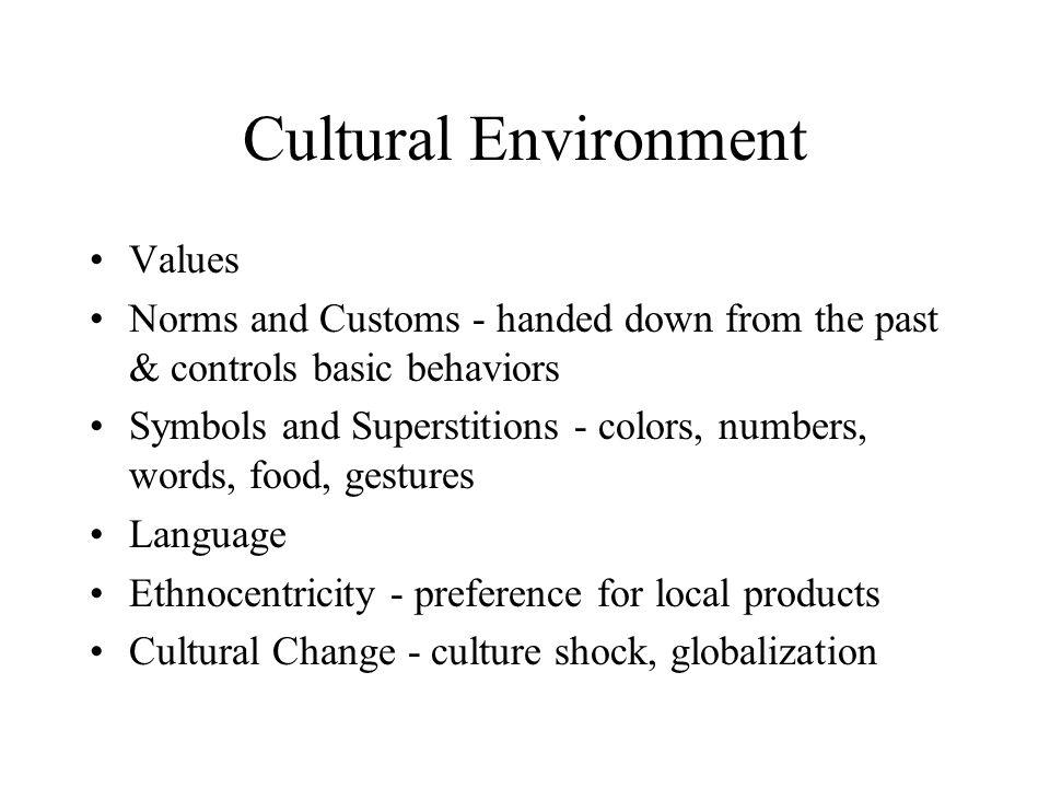 Cultural Environment Values