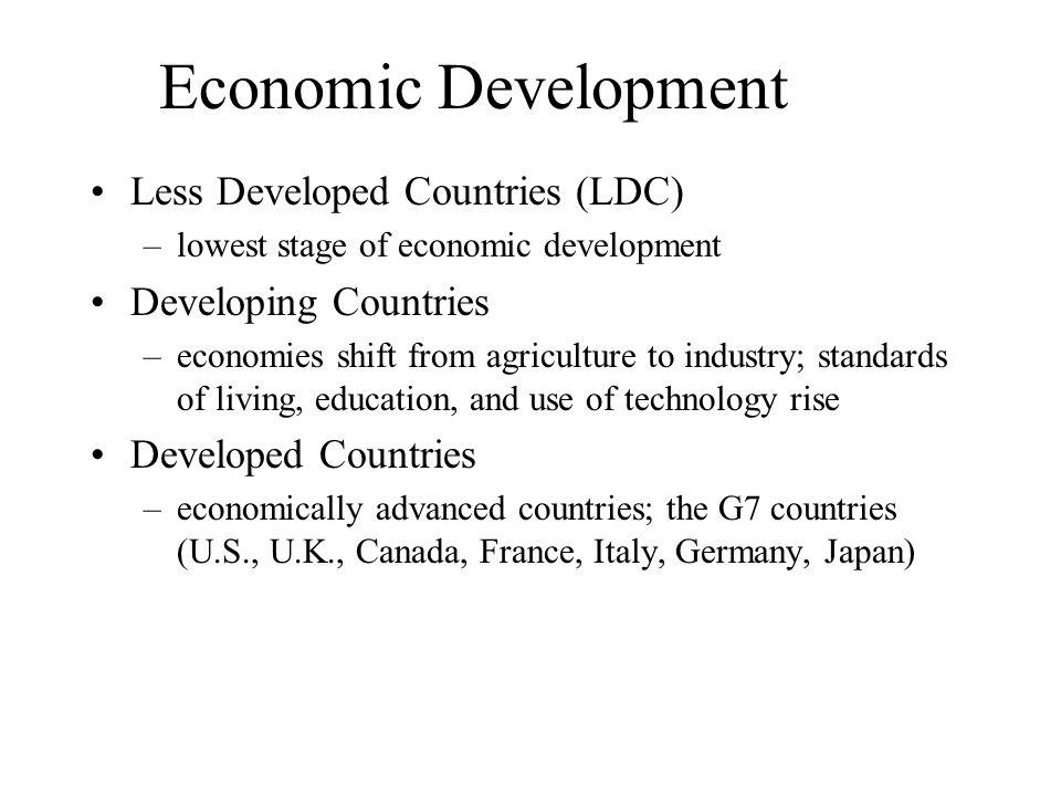 Economic Development Less Developed Countries (LDC)