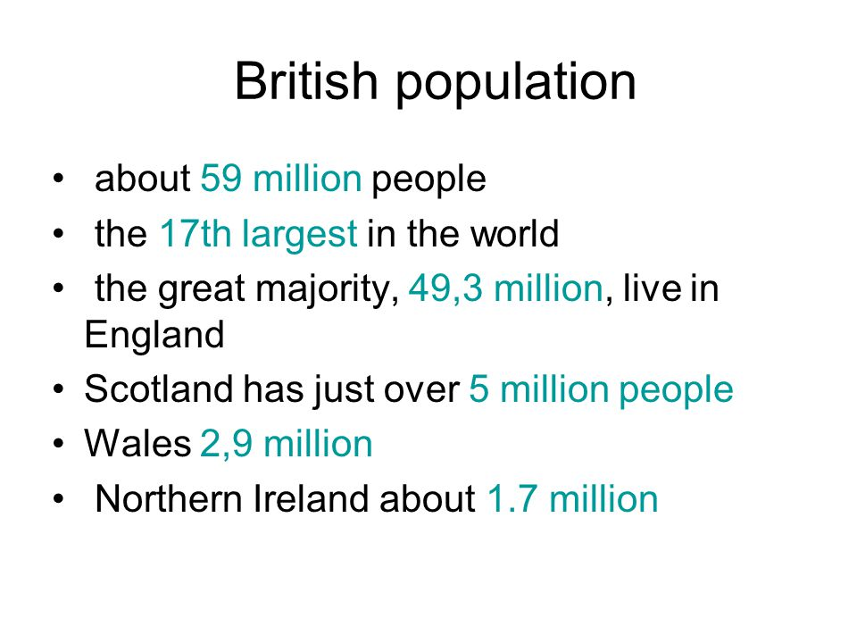 British population about 59 million people