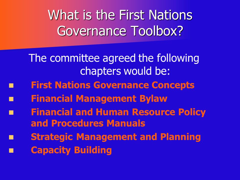 What is the First Nations Governance Toolbox