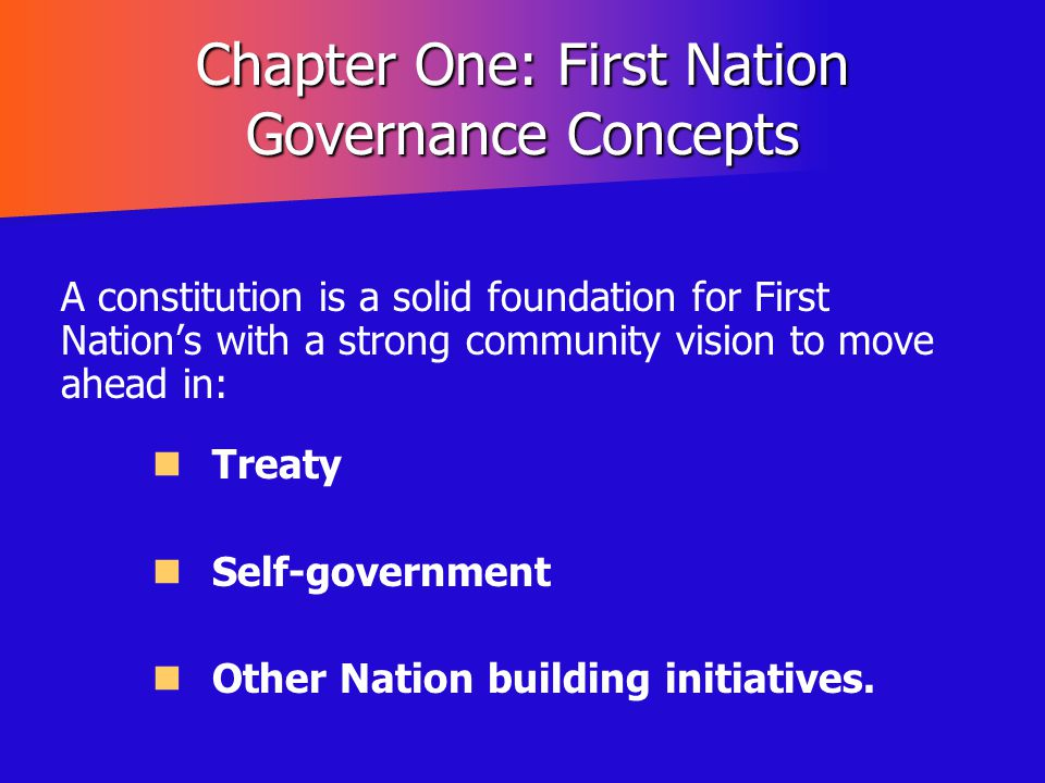 Chapter One: First Nation Governance Concepts