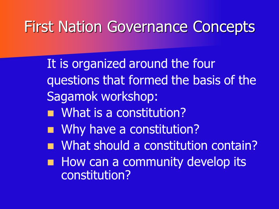 First Nation Governance Concepts