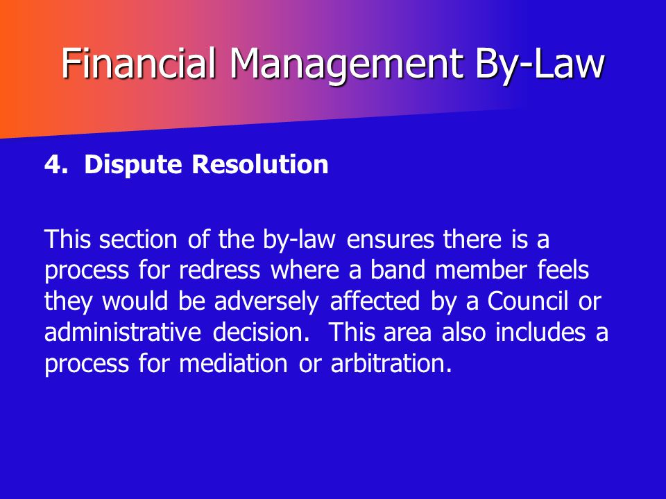 Financial Management By-Law