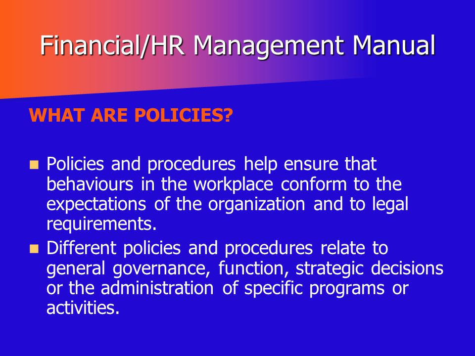 Financial/HR Management Manual