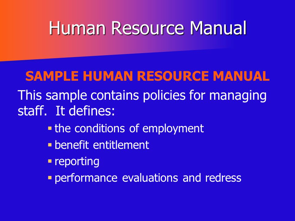 SAMPLE HUMAN RESOURCE MANUAL