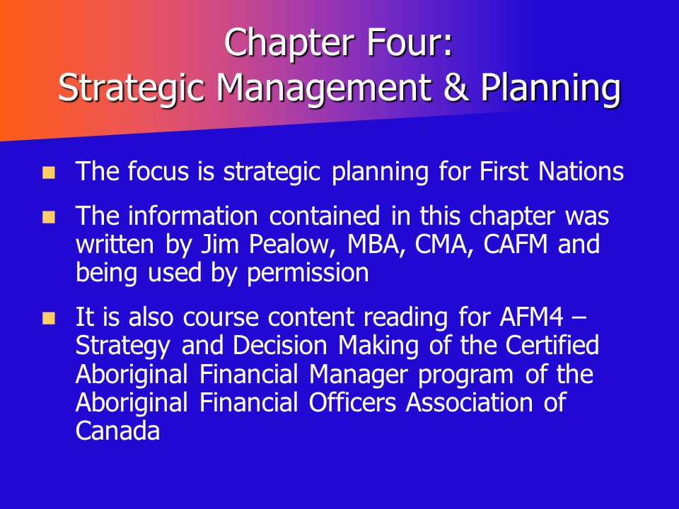 Chapter Four: Strategic Management & Planning