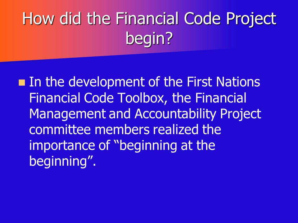 How did the Financial Code Project begin
