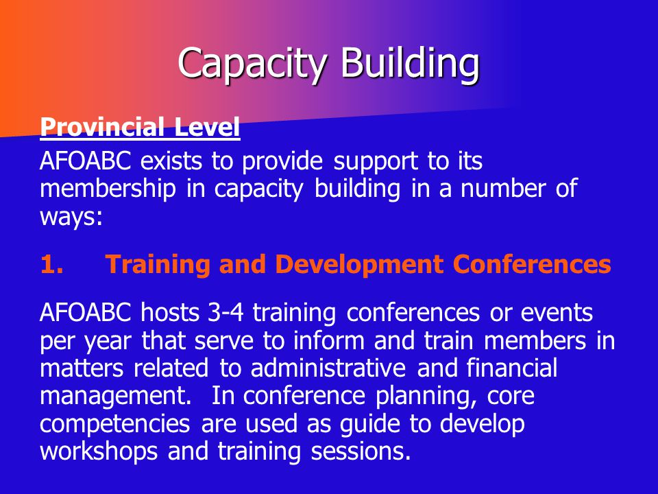 Capacity Building Provincial Level