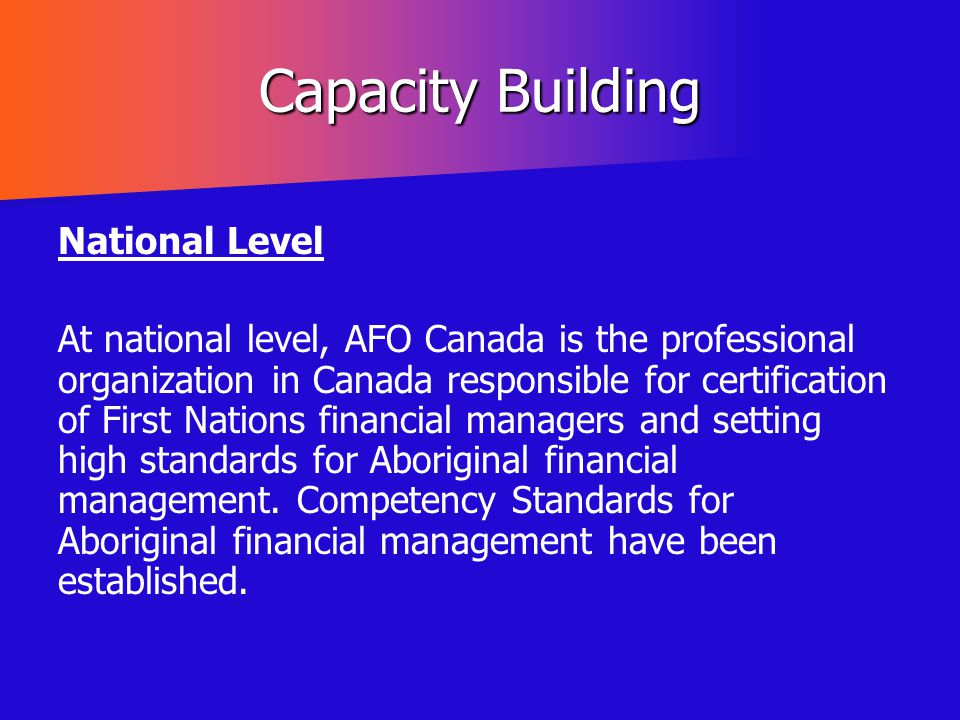 Capacity Building National Level