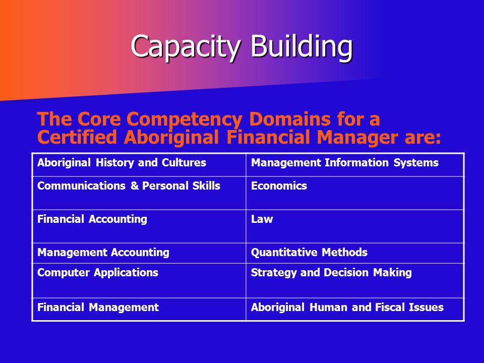 Capacity Building The Core Competency Domains for a Certified Aboriginal Financial Manager are: Aboriginal History and Cultures.