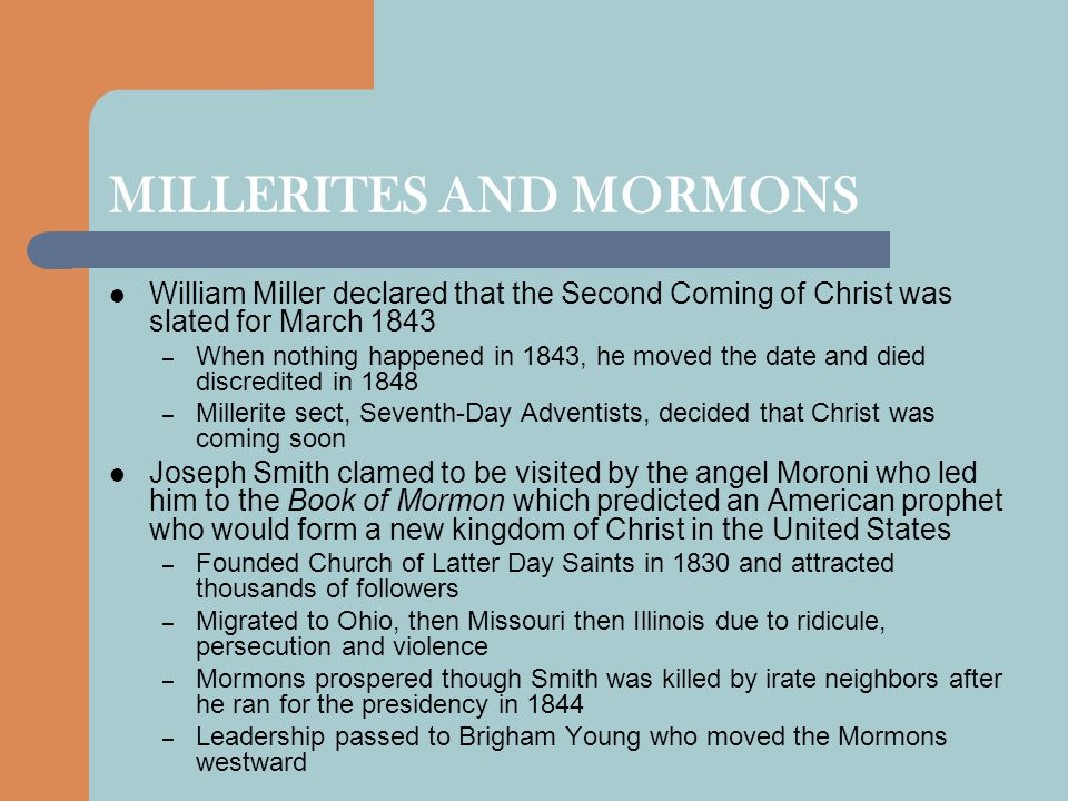 MILLERITES AND MORMONS